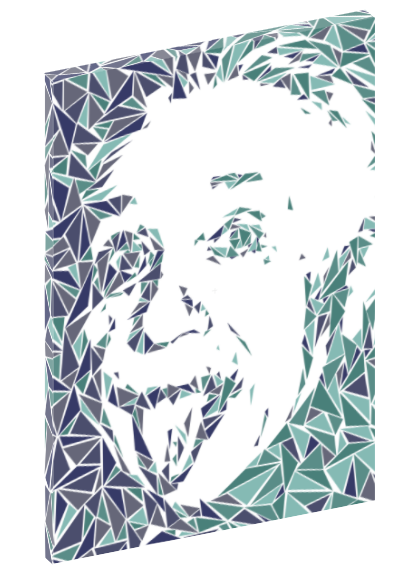 Canvas print wall art of pop art triangle collage of Albert Einstein by Cristian Mielu.