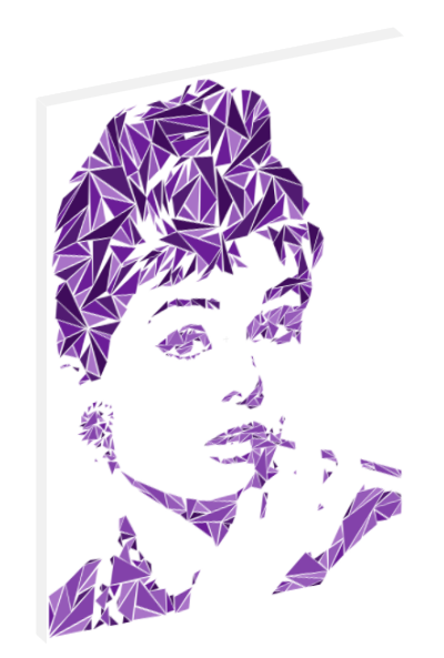 Canvas print wall art of pop art triangle collage of Audrey Hepburn by Cristian Mielu.