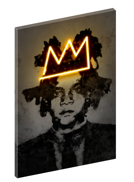 Canvas print wall art of neon Jean-Michel Basquiat by Octavian Mielu.