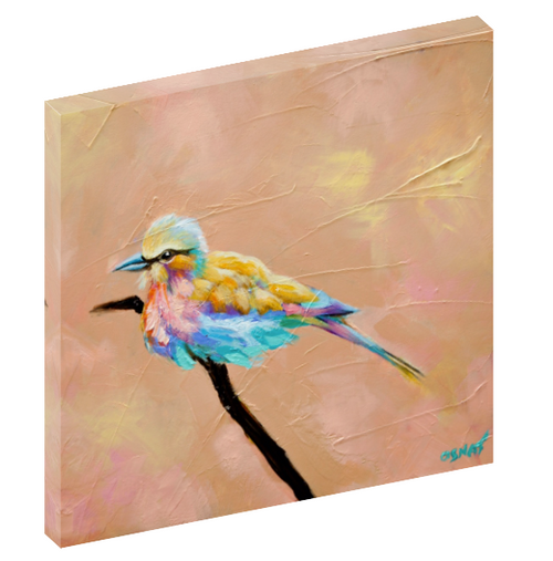 "Canvas print wall art of a bird perched on a branch titled ""Liberte"" by Osnat Tzadok."