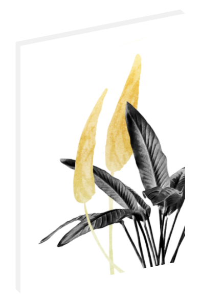 Canvas print wall art of abstract gold and black Bird of Paradise plant by amini54.