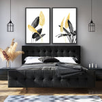 2-piece canvas print wall art collection by amini54 featuring gold and black bird of paradise plants: Bird of Paradise Plant 1 and Birds of Paradise Plant 2