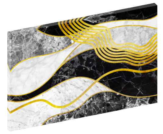 Canvas print wall art of abstract black, gold, and white waves by amini54.