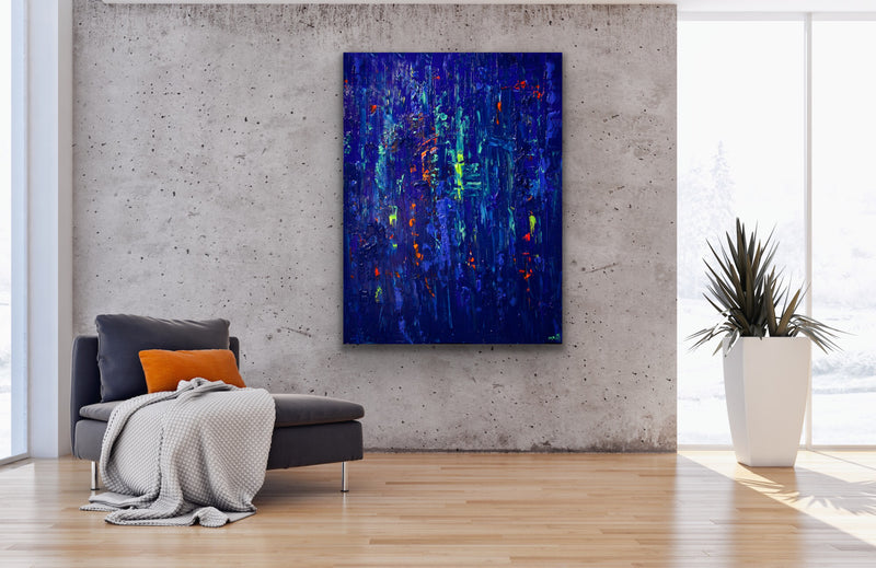 Canvas print wall art of a blue abstract painting by Osnat Tzadok.