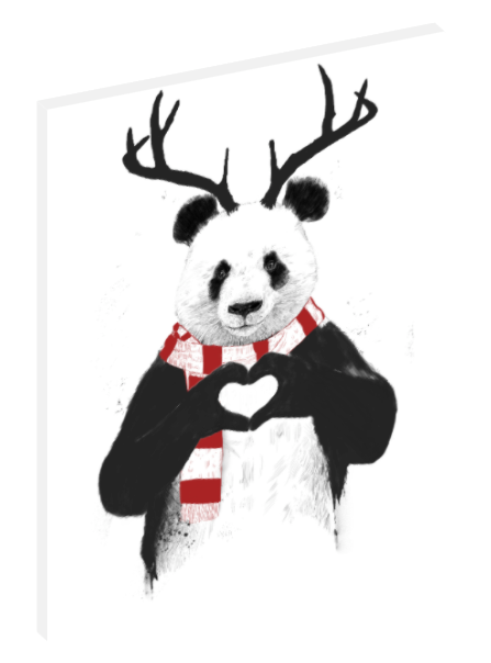Canvas print wall art iIllustration of panda dressed up for the holidays by Balázs Solti.