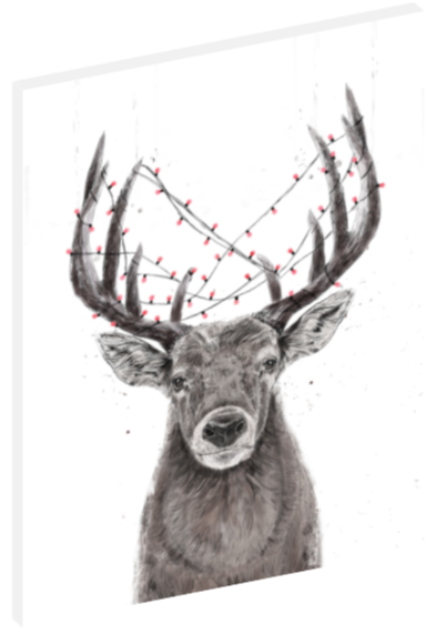 Canvas print wall art illustration of deer with Christmas lights tangled in its antlers by Balázs Solti.