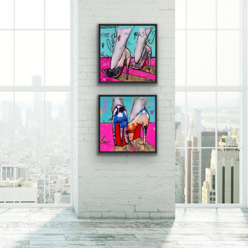 2-piece canvas print wall art collection of City Girls by Iness Kaplun featuring: City Girl 1 and City Girl 2.