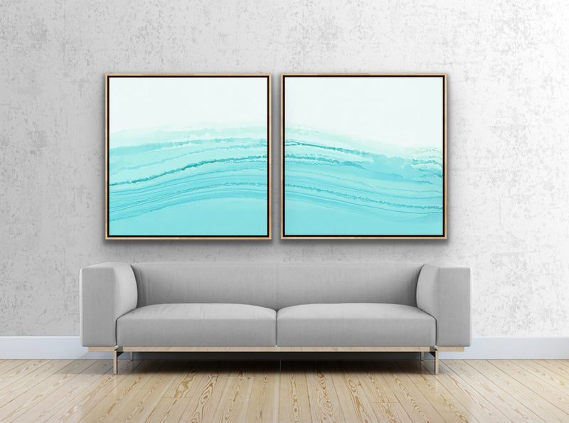 "Canvas print wall art set ""Awash Diptych"" by Rebecca Rueth featuring Awash 1 and Awash 2."
