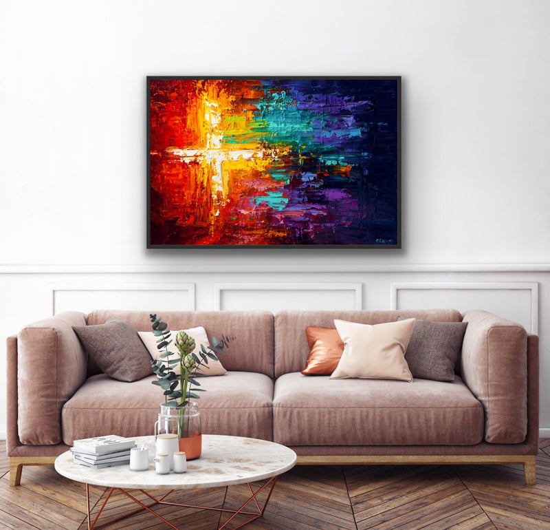 "Canvas print wall art of a colorful abstract painting titled ""Into The Light"" by Osnat Tzadok."
