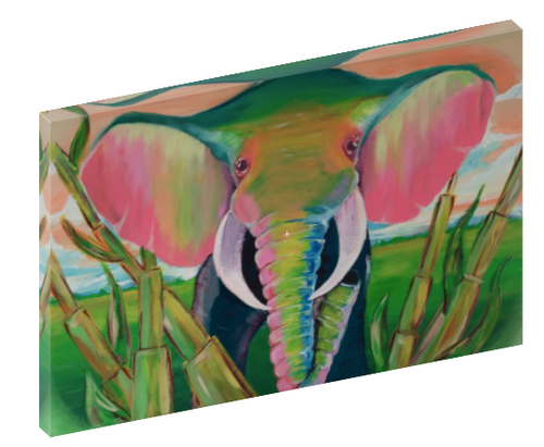 Canvas print wall art of an abstract painting of an elephant by Mark Ashkenazi.
