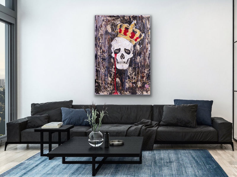 Canvas print wall art of a crying skull and crown by Iness Kaplun.