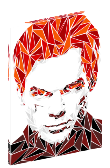 Canvas print wall art of pop art triangle collage of Dexter by Cristian Mielu.