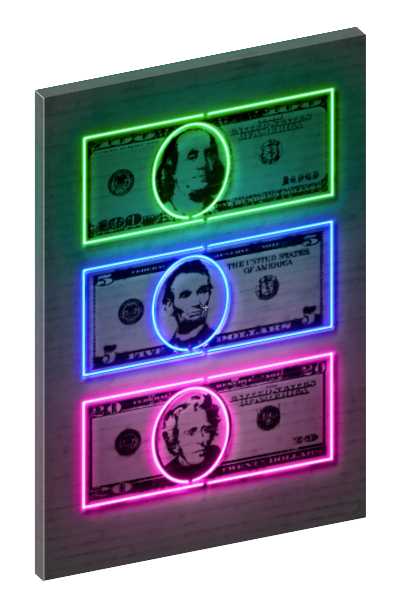 Canvas print wall art of neon $100, $20, and $5 dollar bills by Octavian Mielu.