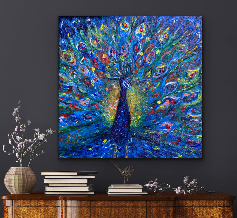 "Canvas print wall art of a peacock titled ""Exqvuisite"" by Chiara Magni."