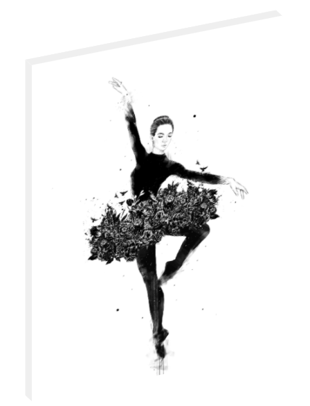 Canvas print wall art of black and white illustration of a girl ballet dancer.