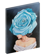 Canvas print wall art of an elegant woman wearing a blue and white floral fascinator headpiece by Julio Garcia.
