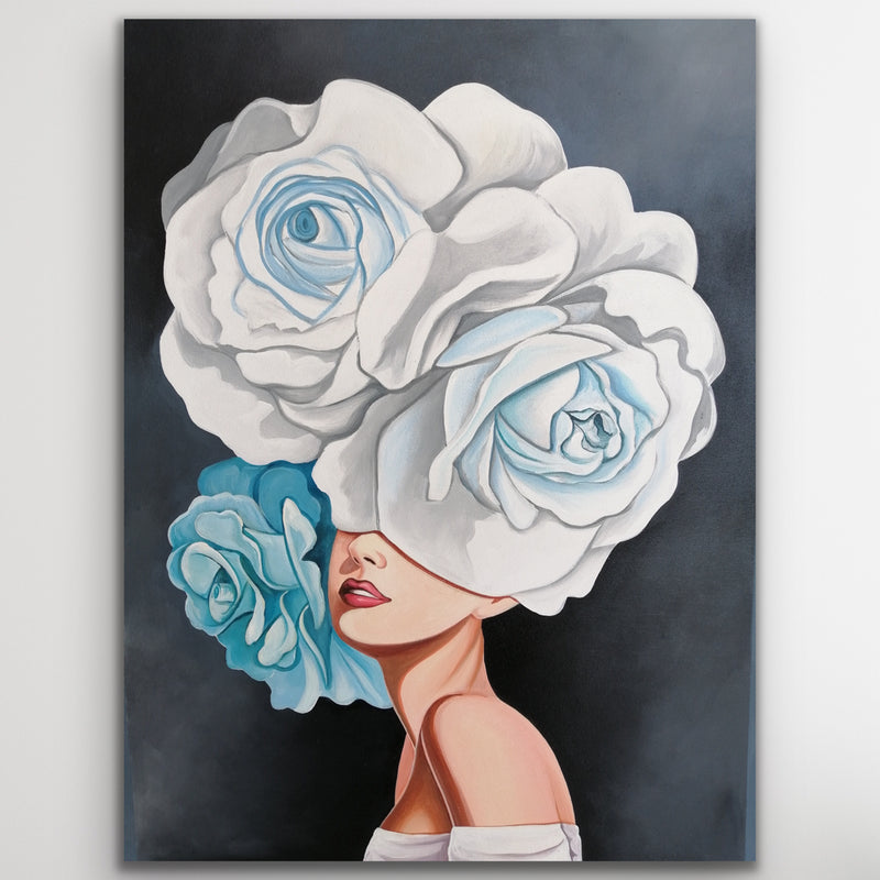 Canvas print wall art set of an elegant woman wearing a blue and white floral fascinator headpiece by Julio Garcia.