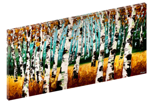 Canvas print wall art of a forrest of aspen trees by Osnat Tzadok.