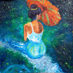 "Canvas print wall art of a woman sitting with an umbrella titled ""Full Moon"" by Chiara Magni."