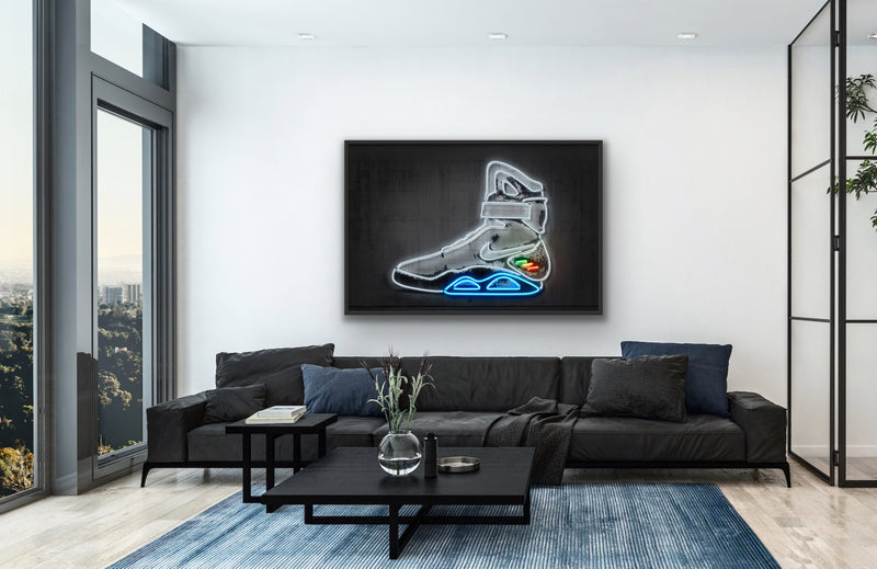 Canvas print wall art of neon basketball shoe pop art by Octavian Mielu.