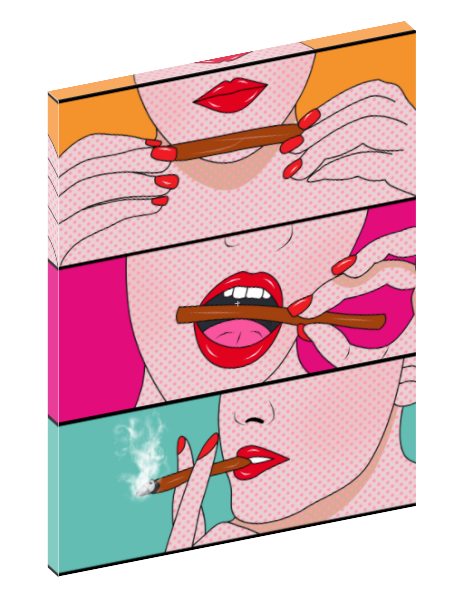 Canvas print wall art of comic pop art of girl smoking by Mark Ashkenazi.