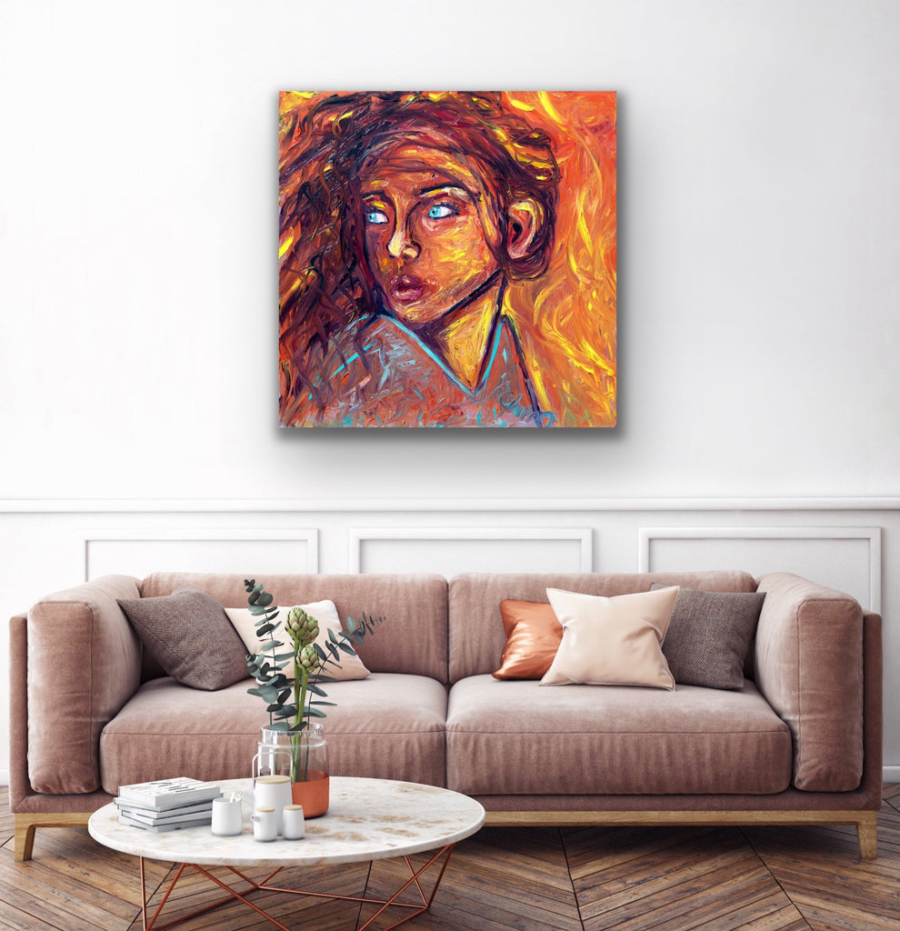 "Canvas print wall art of a woman sitting titled ""Heat"" by Chiara Magni."