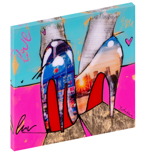 "Canvas print wall art of pop art high heels titled ""City Girl 1"" by Iness Kaplun."
