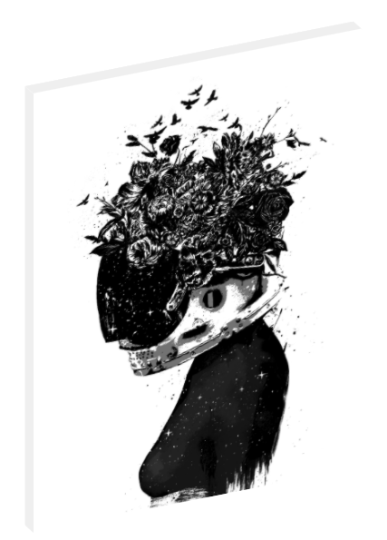 Canvas print wall art of black and white illustration of a girl, helmet, and flowers.