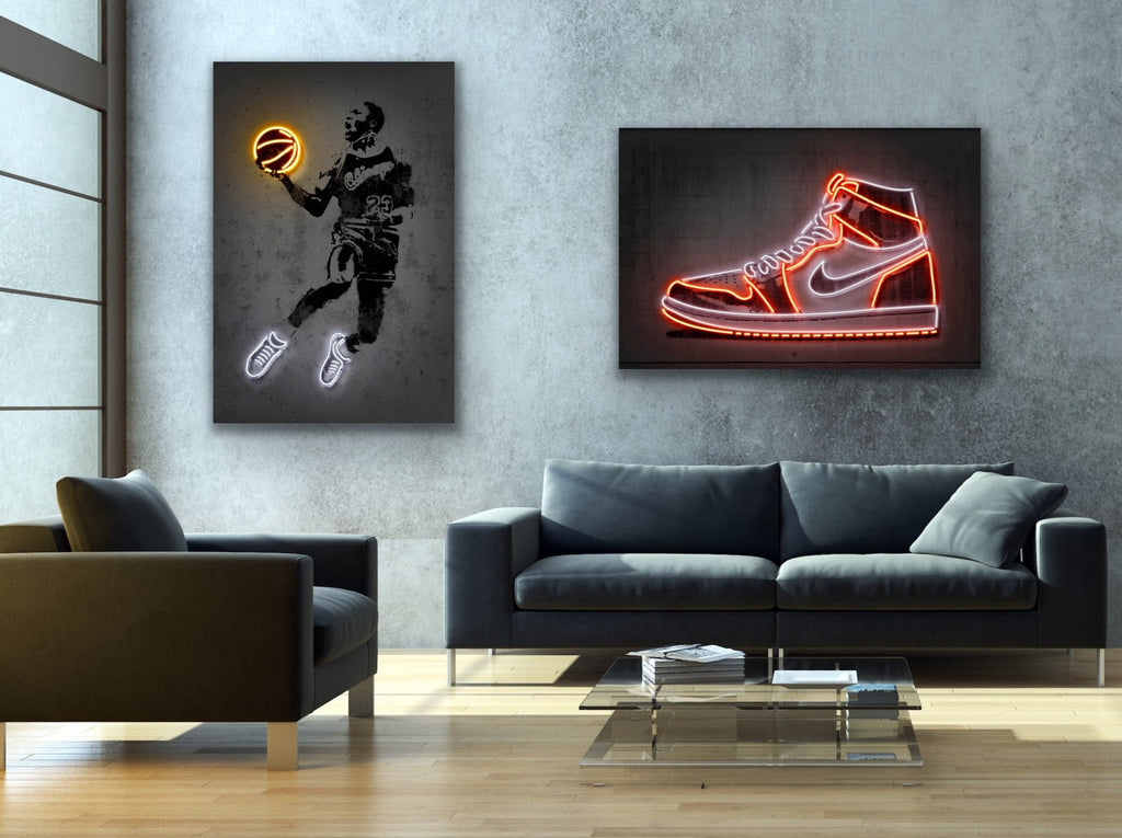 2-piece canvas print wall art collection by Octavian Mielu featuring I Want To Be Like Mike Neon Collection: Michael Jordan and Air Jordan 1 Sneakers.