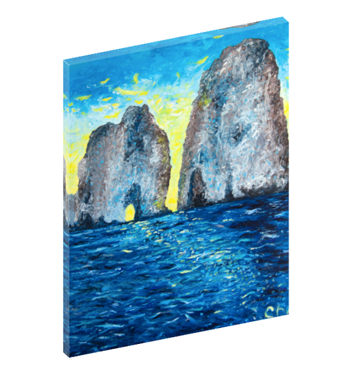 Canvas print wall art of the island Capri, Italy at sunrise by Chiara Magni.