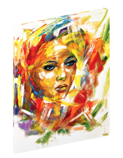 "Canvas print wall art of an abstract figurative painting titled ""In Your Eyes"" by Osnat Tzadok."