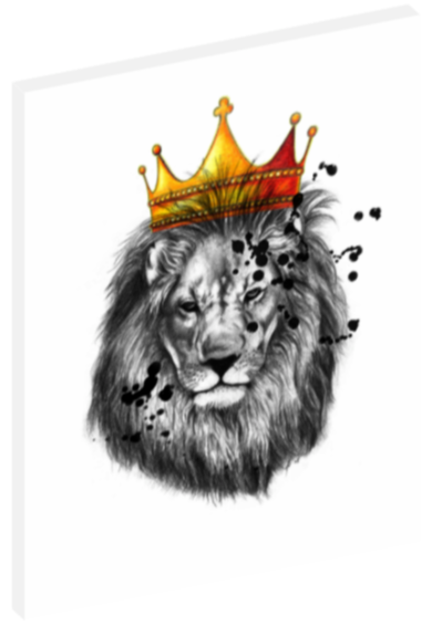 Canvas print wall art iIllustration of a lion wearing a crown by Mark Ashkenazi.