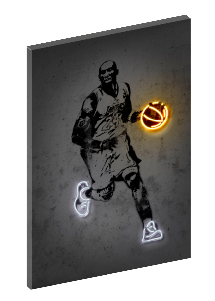 Canvas print wall art of neon Kobe Bryant by Octavian Mielu.