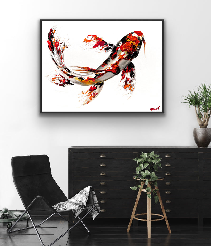 Canvas print wall art of an orange, black, and white Koi fish by Osnat Tzadok.