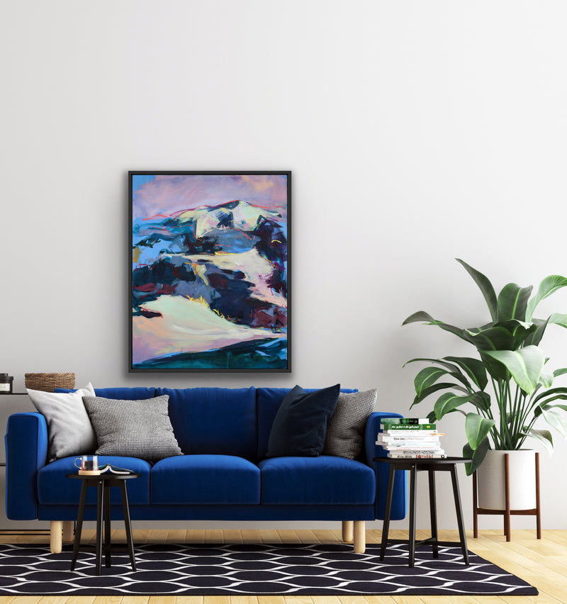 Canvas print wall of an abstract landscape painting by Karin Czermak.