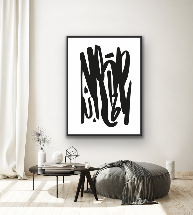 "Canvas print wall art of a modern abstract design titled ""Letters Scrawl"" by Izabela Pichotka. Pairs perfectly with ""Dope Scrawl"" and ""OK Scrawl"" (each sold separately)."