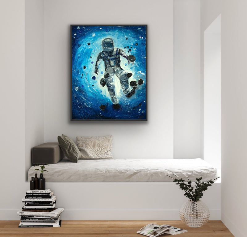 "Canvas print wall art of an astronaut floating in outer space titled ""Lone Ranger"" Chiara Magni."