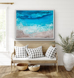 Canvas print wall of a girl in the surf at the beach by Kinga Maziuk.
