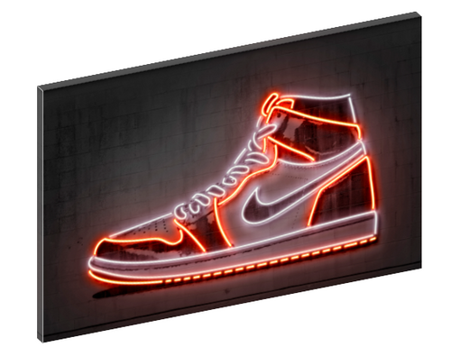 Canvas print wall art of neon Air Jordan 1 sneaker by Octavian Mielu.