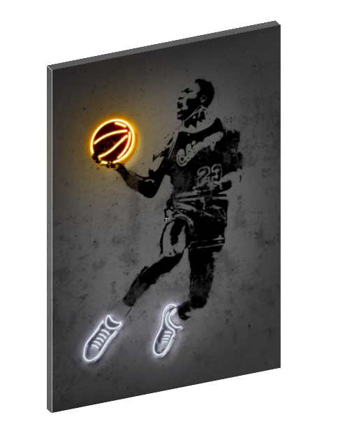 Canvas print wall art of neon Michael Jordan by Octavian Mielu.