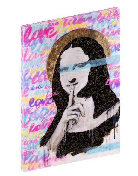 Canvas print wall art of Mona Lisa originally done in mixed media collage by Iness Kaplun.