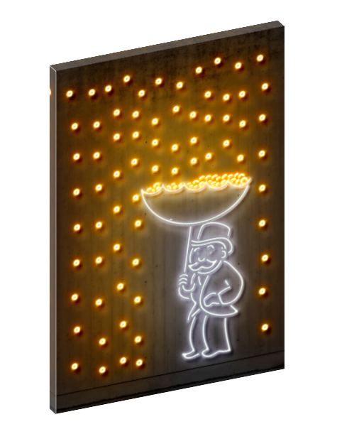 Canvas print wall art of neon raining money pop art by Octavian Mielu.