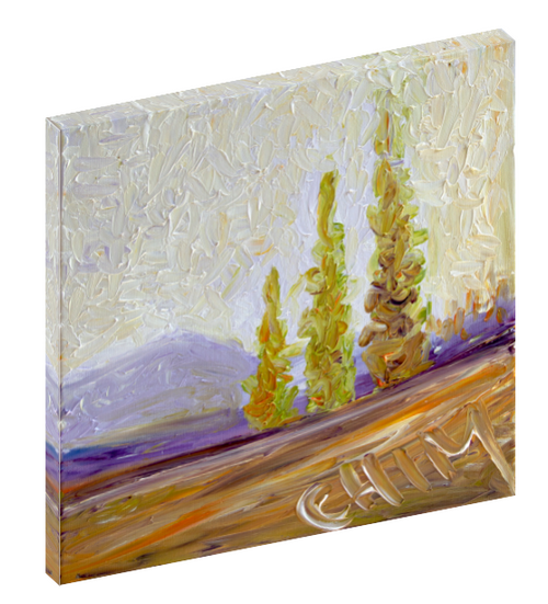 "Canvas wall art print of a country landscape with mountains in the background titled ""Tenue 1"" by Chiara Magni."