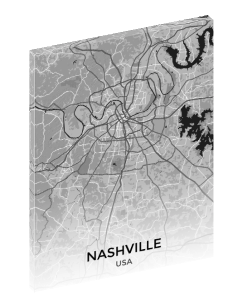 Canvas print wall art map of Nashville, Tennessee.