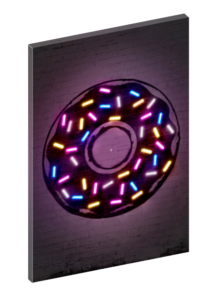Canvas print wall art of neon donut with sprinkles by Octavian Mielu.