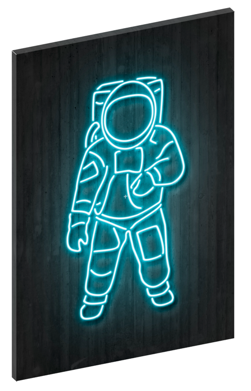 Canvas print wall art of neon Astronaut by Octavian Mielu.