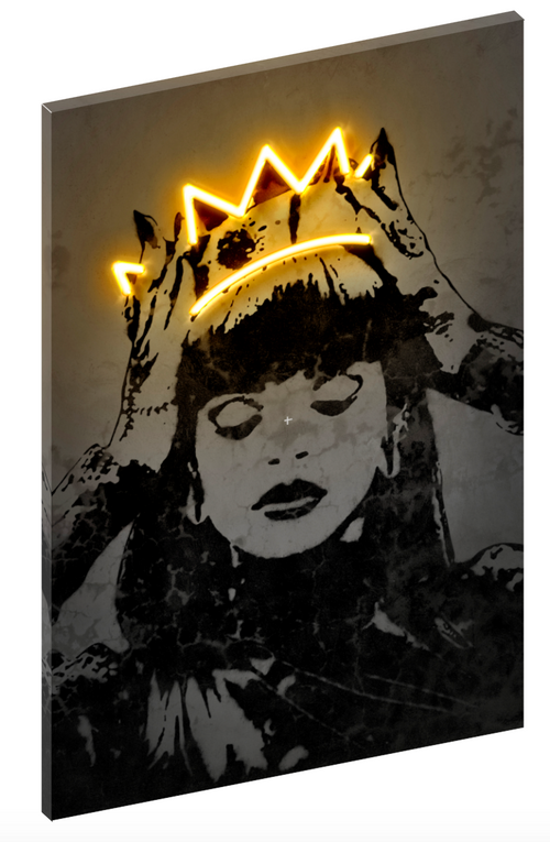 Canvas print wall art of neon Rihanna by Octavian Mielu.