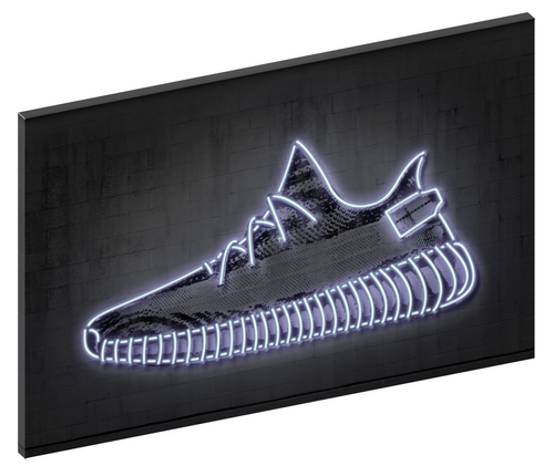 Canvas print wall art of neon Kanye West Yeezy sneaker by Octavian Mielu.