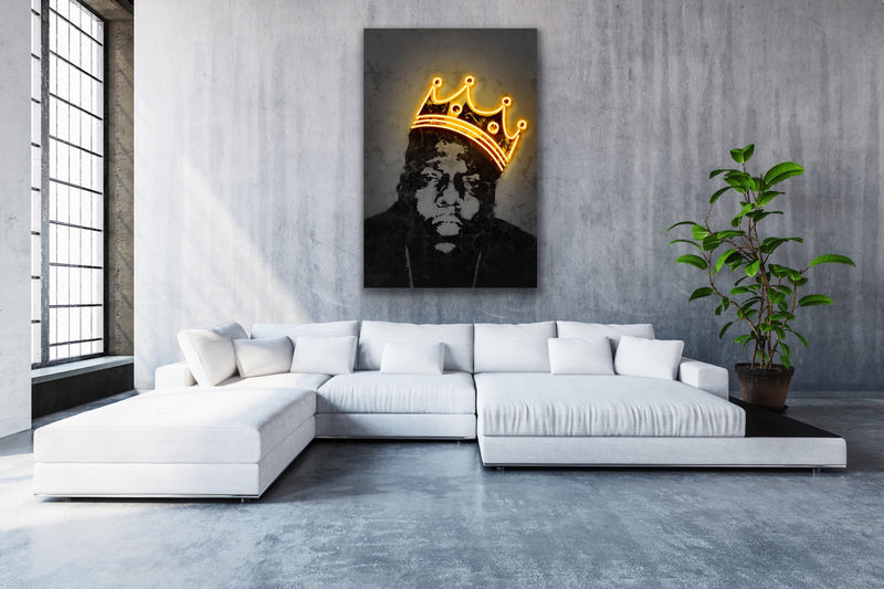 Canvas print wall art of neon Notorious BIG by Octavian Mielu.