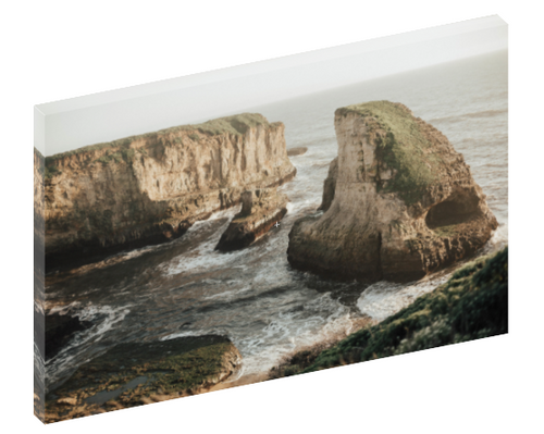 "Canvas print wall art photograph of ""Shark Fin Cove"" ocean cliffs in Davenport, California by Shannon Strom."